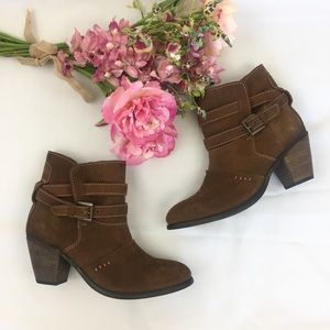 Diba Brown Heeled Ankle Boots 7.5